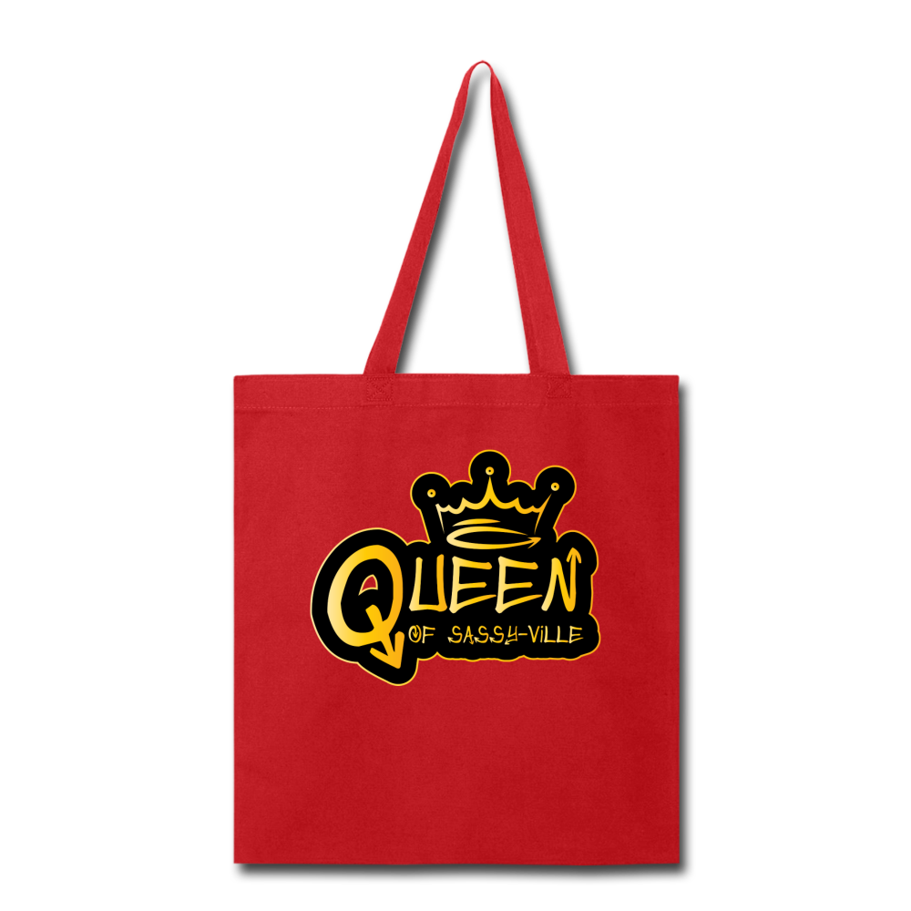 Queen of Sassy-ville Tote Bag - red