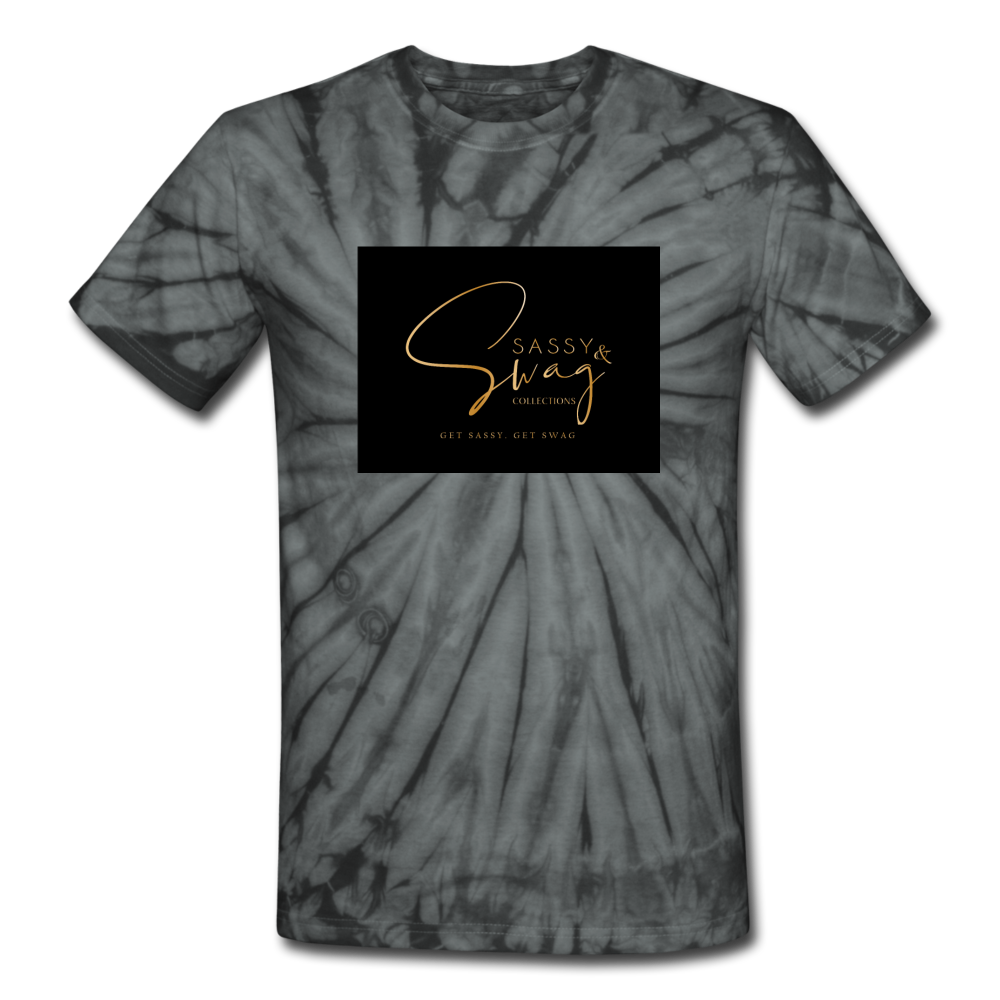 Sassy & Swag Collections Unisex Tie Dye T-Shirt - spider black