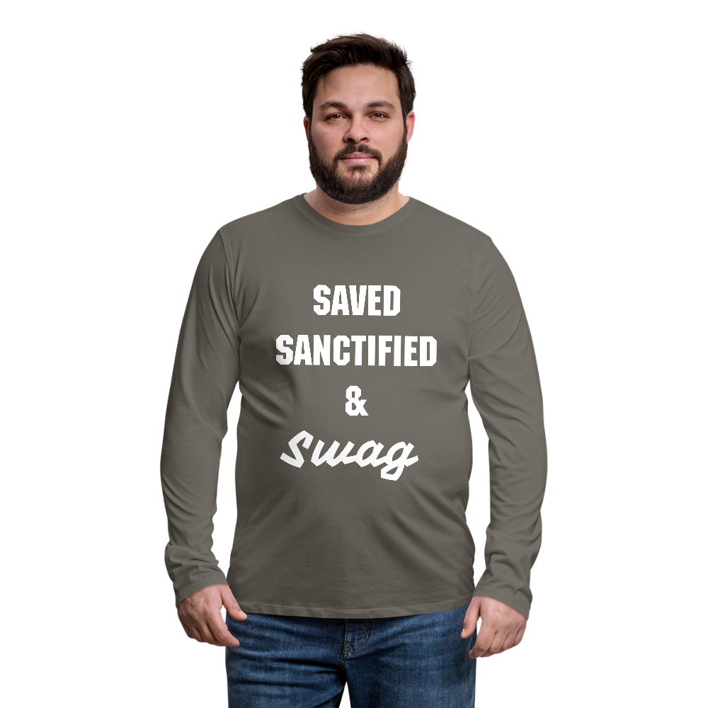 Saved Sanctified and Swag Men's Premium Long Sleeve T-Shirt - asphalt gray