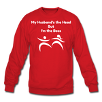 I'm the Boss Crewneck Sweatshirt - red