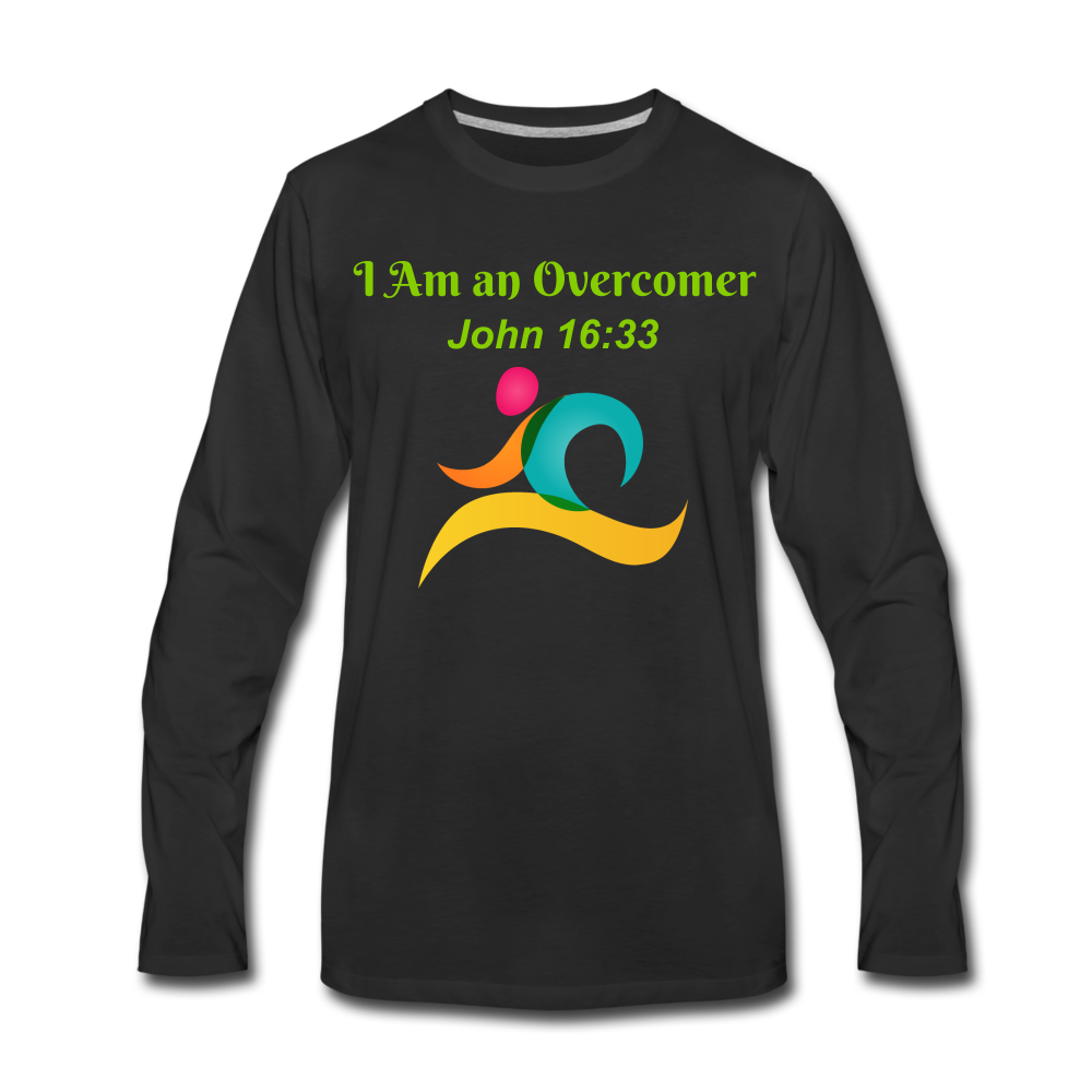 I Am an Overcomer John 16:33 Men's Premium Long Sleeve T-Shirt - black