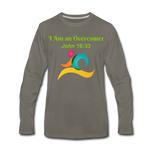 I Am an Overcomer John 16:33 Men's Premium Long Sleeve T-Shirt - asphalt gray