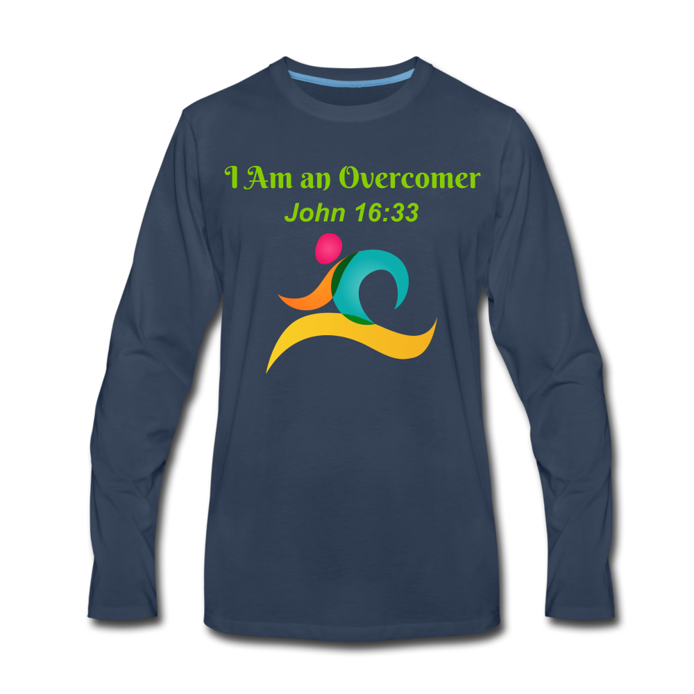 I Am an Overcomer John 16:33 Men's Premium Long Sleeve T-Shirt - navy