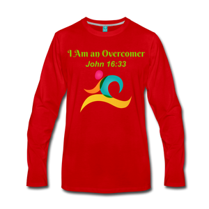 I Am an Overcomer John 16:33 Men's Premium Long Sleeve T-Shirt - red