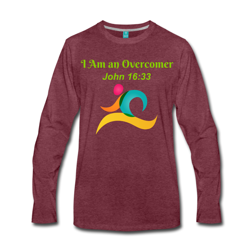 I Am an Overcomer John 16:33 Men's Premium Long Sleeve T-Shirt - heather burgundy