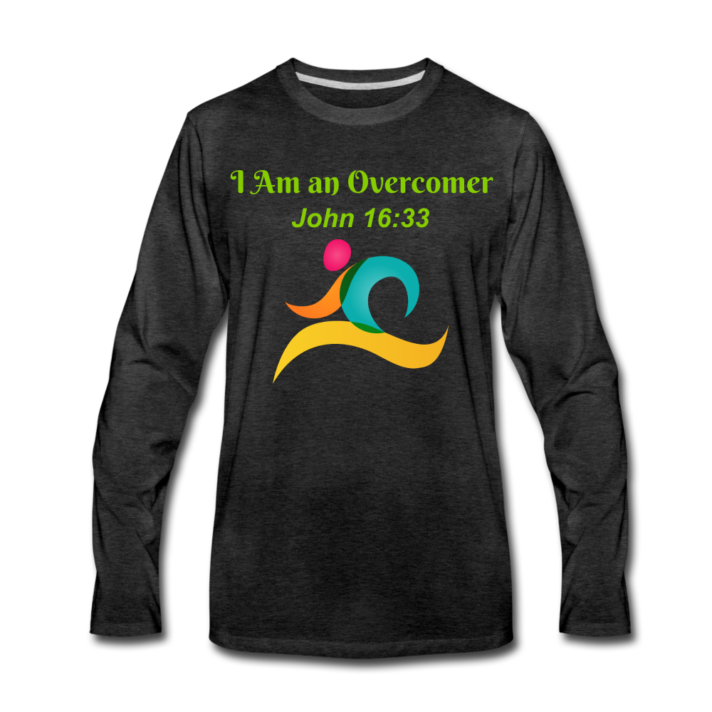 I Am an Overcomer John 16:33 Men's Premium Long Sleeve T-Shirt - charcoal gray