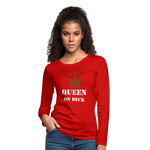 Queen On Deck Women's Premium Slim Fit Long Sleeve T-Shirt - red