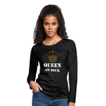 Queen On Deck Women's Premium Slim Fit Long Sleeve T-Shirt - charcoal gray