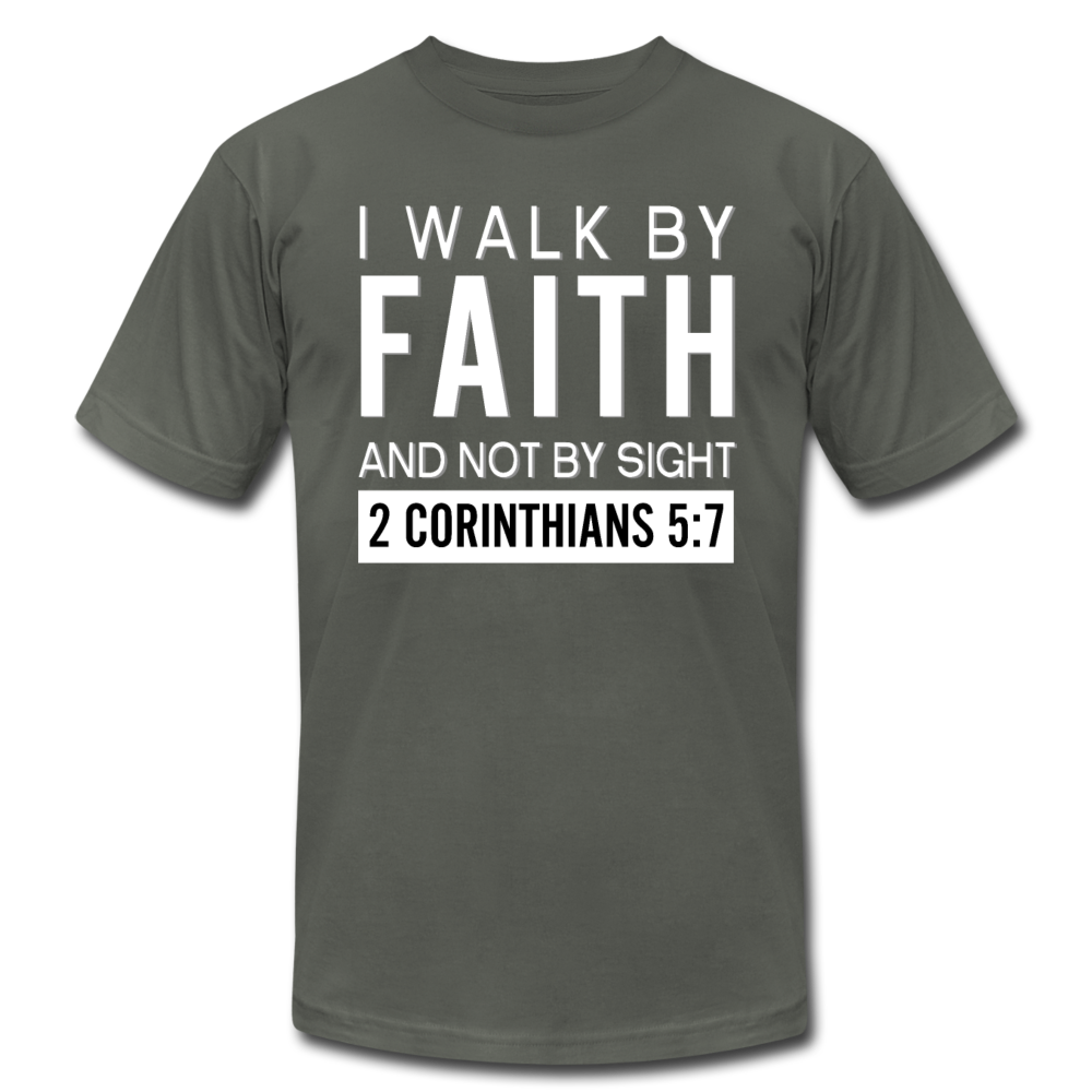 I Walk By Faith Unisex Jersey T-Shirt - asphalt