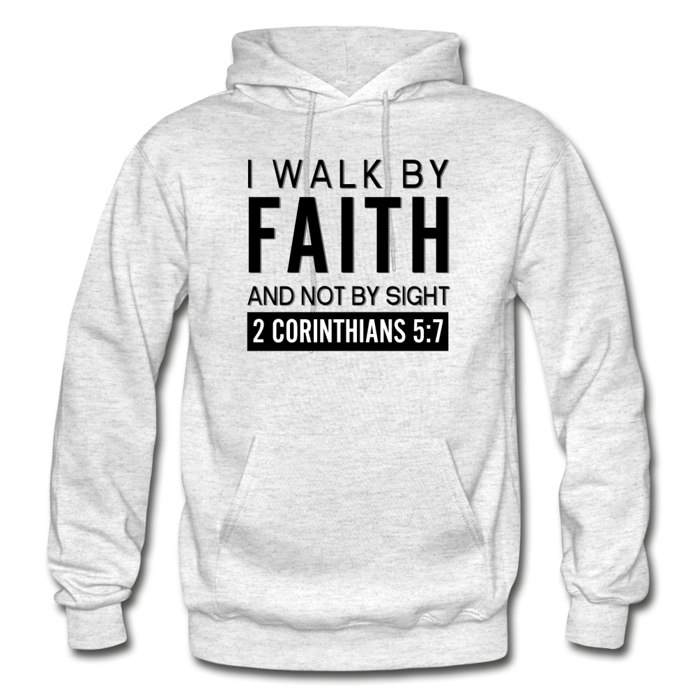 I Walk By Faith Gildan Heavy Blend Adult Hoodie - light heather gray
