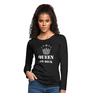 Queen On Deck Women's Premium Slim Fit Long Sleeve T-Shirt - black
