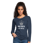 Queen On Deck Women's Premium Slim Fit Long Sleeve T-Shirt - navy