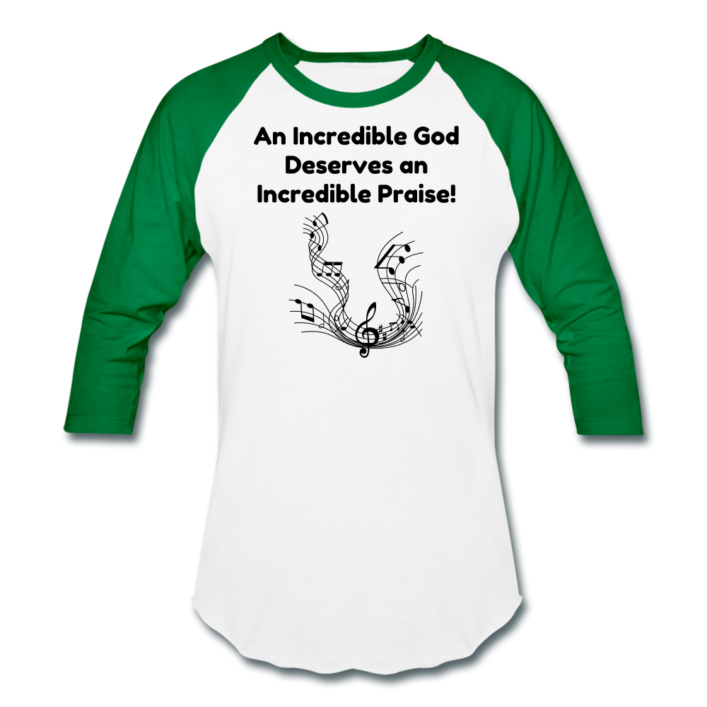 Incredible Praise Baseball T-Shirt - white/kelly green