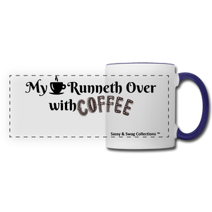 My Cup Runneth Over Panoramic Mug - white/cobalt blue