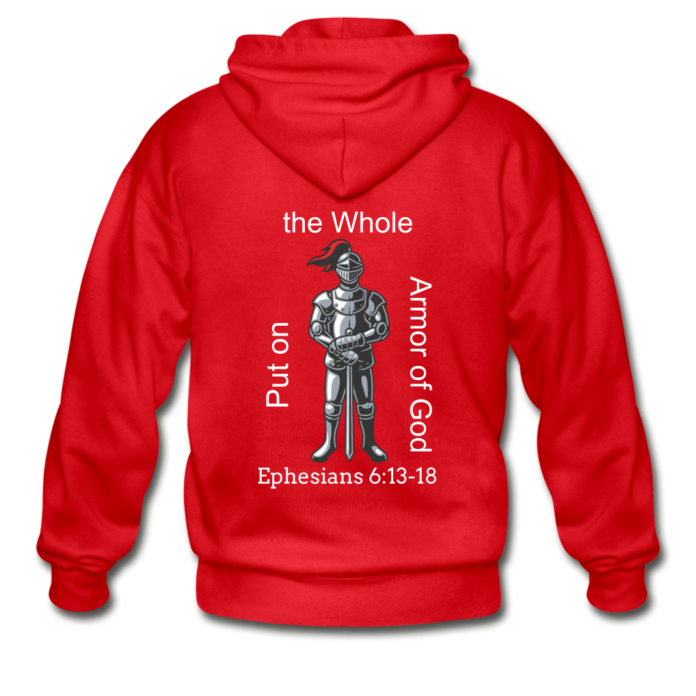 Put on the Armor of God Gildan Heavy Blend Adult Zip Hoodie - red