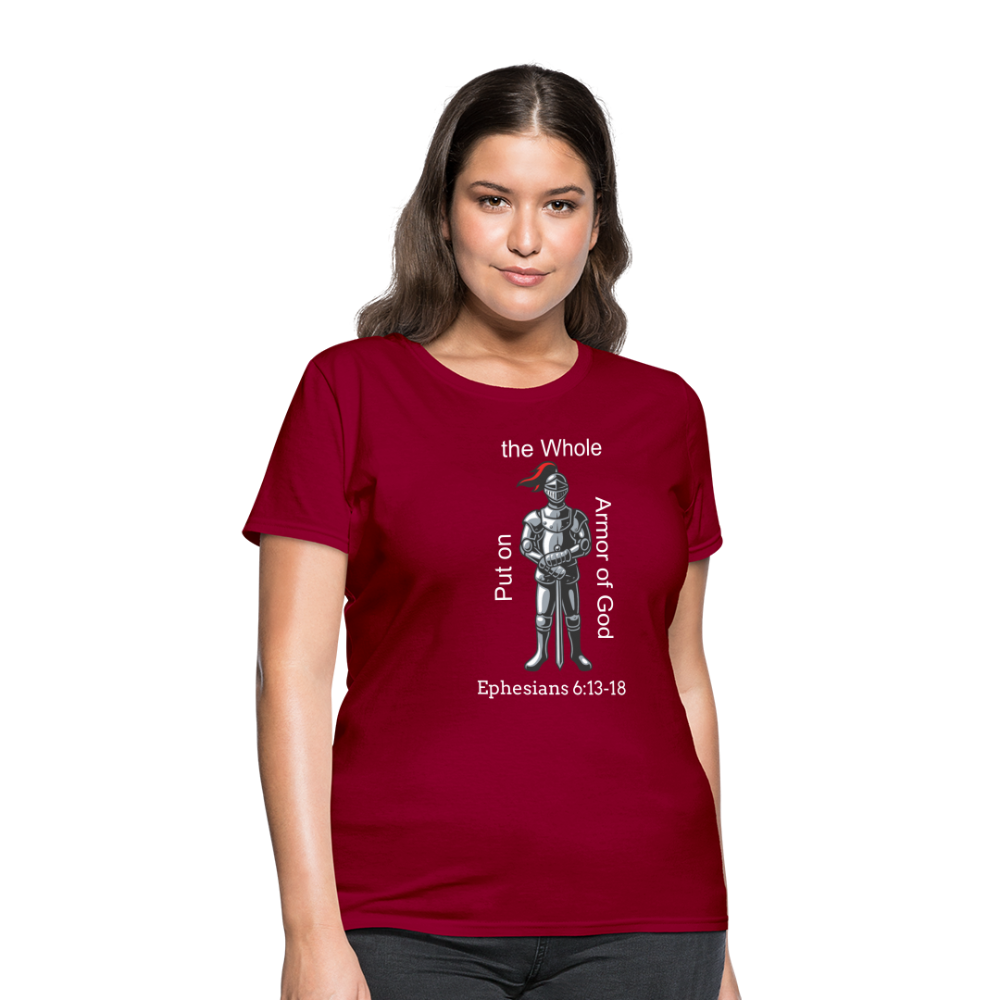 Put on the Whole Armor of God Women's T-Shirt - dark red