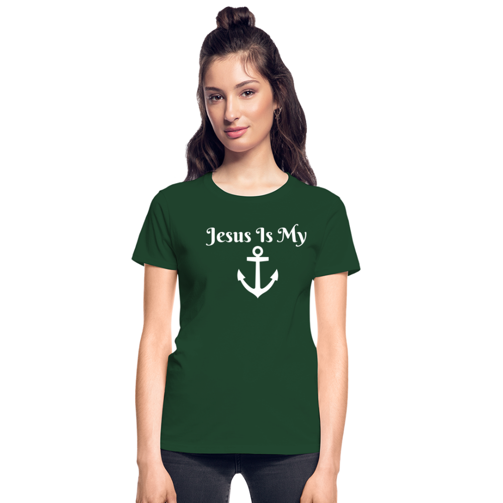 Jesus Is My Anchor Ultra Cotton Ladies T-Shirt - forest green