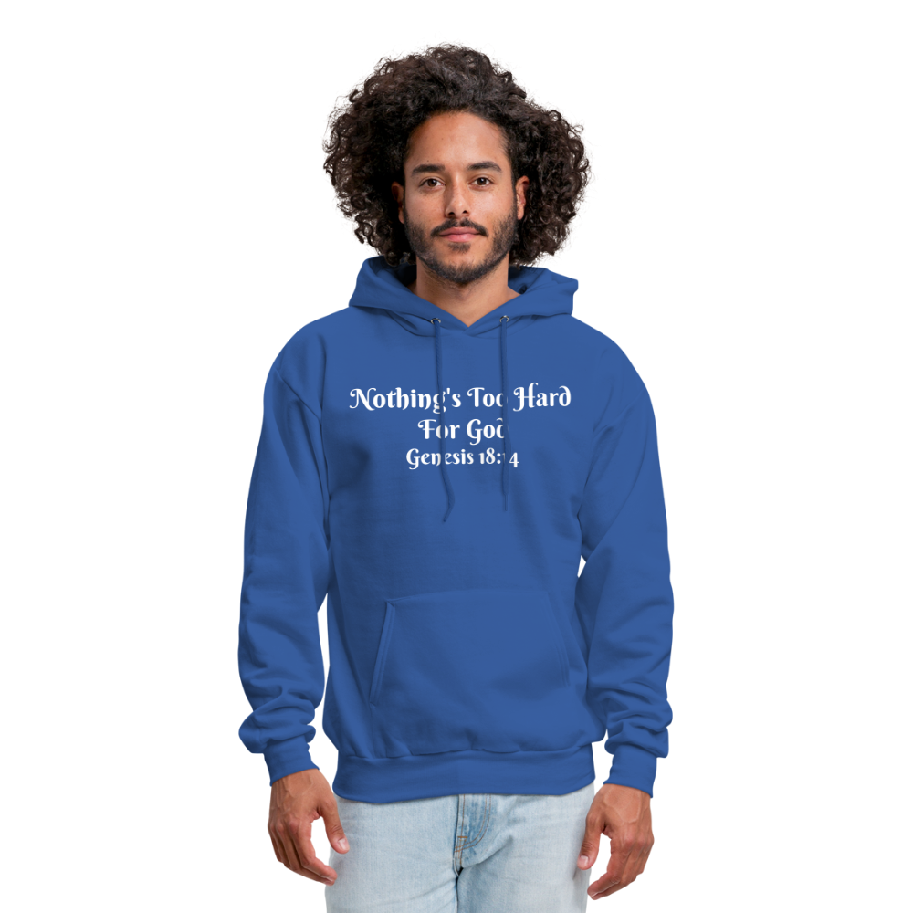 Nothing's Too Hard for God Men's Hoodie - royal blue