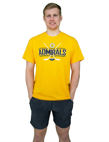 APPAREL-Yellow Hockey Sticks T