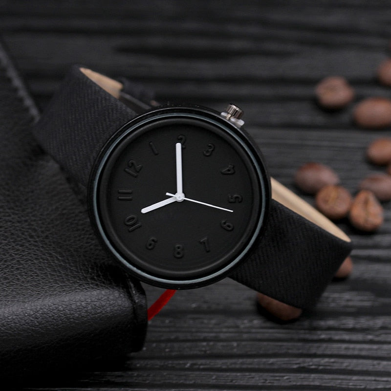 NEUTRALBLU BLK CANVAS WRISTWATCH  - NeutralBlu Genderless Gender Neutral Fashion Clothing Line