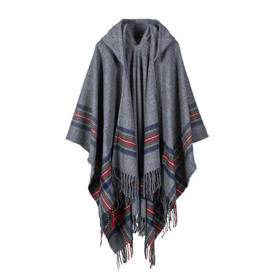 NEUTRALBLU PONCHO SHAWL WRAP WITH CAPE  - NeutralBlu Genderless Gender Neutral Fashion Clothing Line Androgynous Clothing Unisex