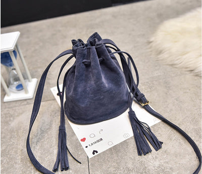 NEUTRALBLU DREAM DESIGNER TASSEL SUEDE AND LEATHER HANDBAG  - NeutralBlu Genderless Gender Neutral Fashion Clothing Line Androgynous Clothing Unisex