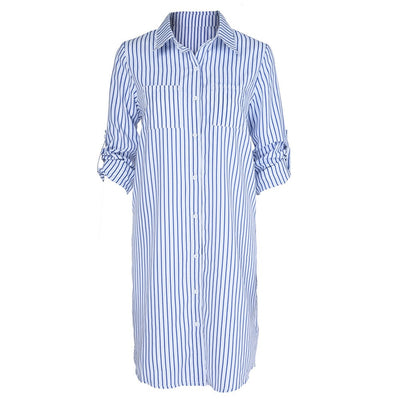 NEUTRALBLU QUARTER STRIPED DRESS WITH POCKET  - NeutralBlu Genderless Gender Neutral Fashion Clothing Line Androgynous Clothing Unisex