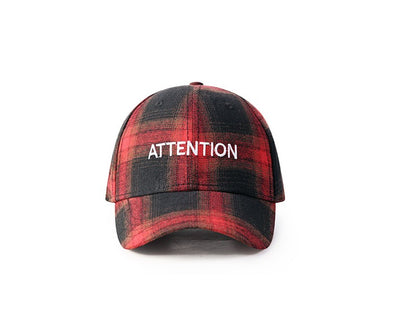 "NEUTRALBLU PLAID ""ATTENTION"" CAP  - NeutralBlu Genderless Gender Neutral Fashion Clothing Line Androgynous Clothing Unisex"