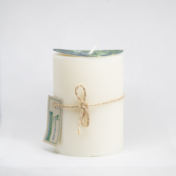 3x4 Unscented Pillar Soy Candle - 65+ hours of Clean Burning