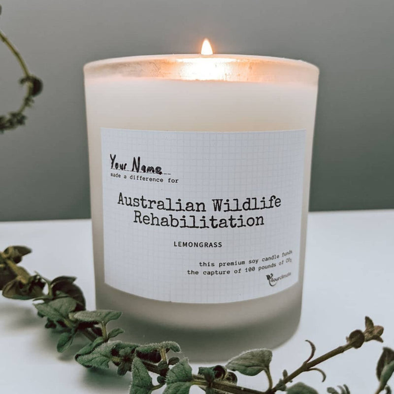Australian Wildlife Rehabilitation Soy Candle - 8.5 oz Lemongrass Scented in Frosted Glass, 65+ Hours of Clean Burning