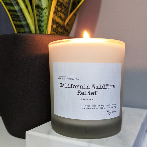 California Wildfire Relief Soy Candle - 8.5 oz Lavender Scented in Frosted Glass, 65+ Hours of Clean Burn