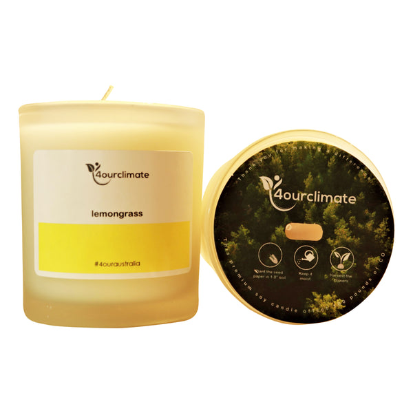 Lemongrass Soy Candle - 8.5 oz Frosted Glass, 65+ Hrs Limited Edition