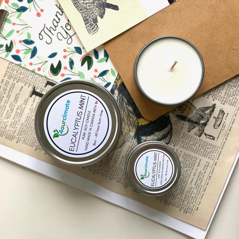 Eucalyptus Mint Soy Candle - 8-oz, 40+ hours of Clean Burning