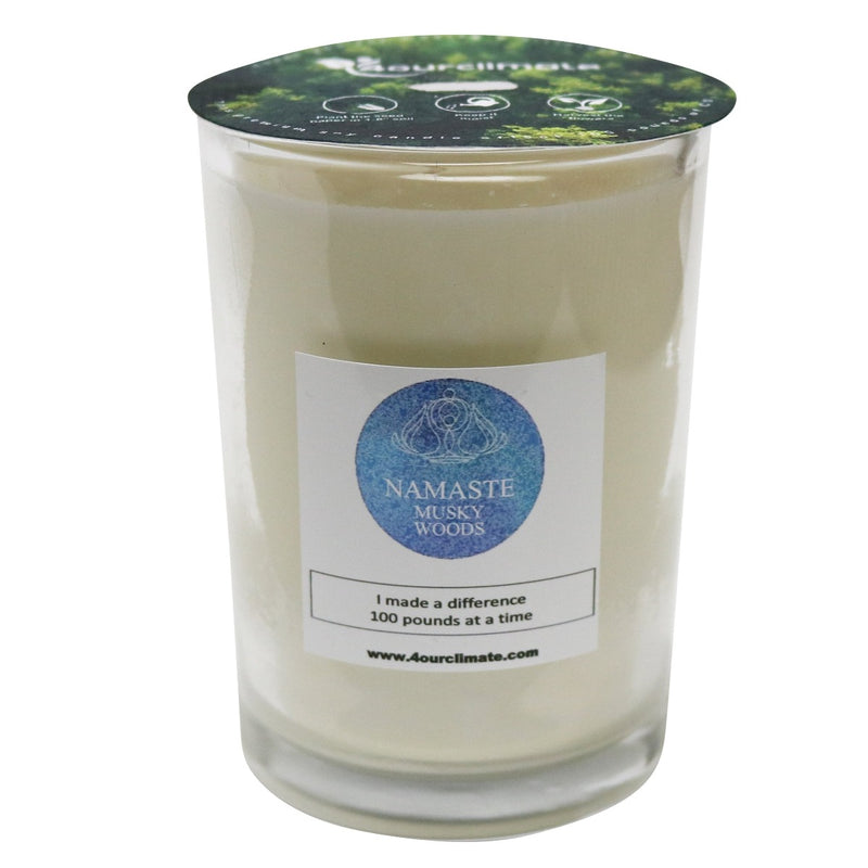 Namaste Bliss - Musky Woods Yoga Candle - 8 oz, 50+ hours of Clean Burning