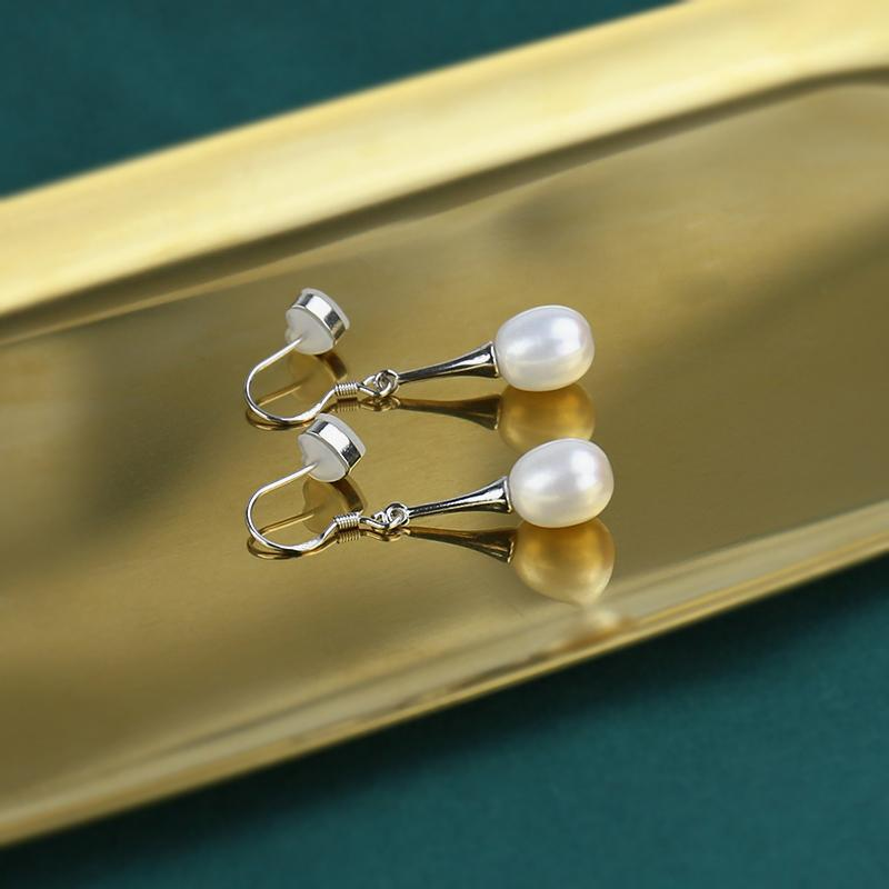 1950s Jewelry Styles and History Handmade High Heels Freshwater Pearl Earrings Sliver Jewelry $32.00 AT vintagedancer.com