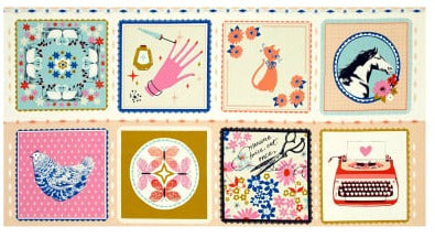 Cotton + Steel Beauty Shop Hankies Panel - Peach Colorway