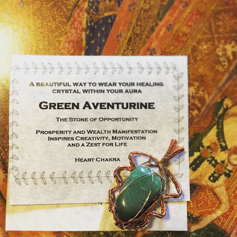 green aventurine wired wrapped jewelry by Linda Shultz
