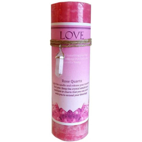 Love Candle with Rose Quartz Crystal Pendant