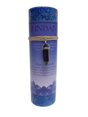 Abundance Candle with Blue Goldstone Crystal Pendant