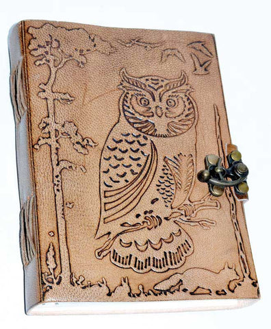 Owl in Jungle Leather Journal With Latch