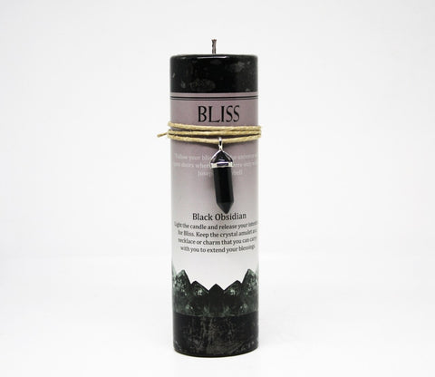 Bliss Candle with Obsidian Crystal Pendant