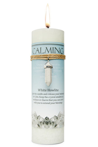 Calming Candle with White Howlite Crystal Pendant