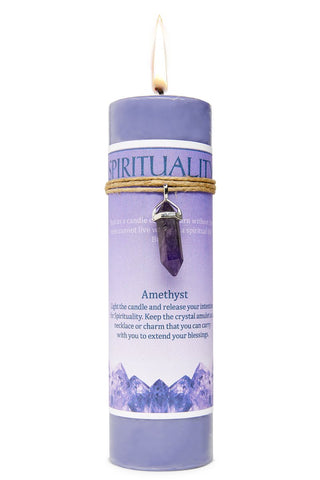 Spirituality Candle with Amethyst Crystal Pendant