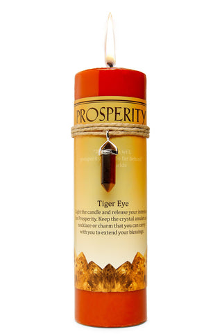 Prosperity Candle with Tiger's Eye Pendant