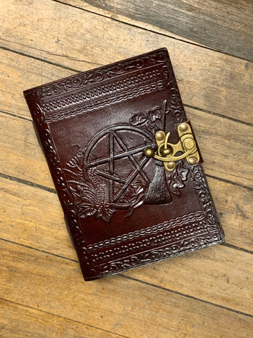 Pentagram Dark Brown Leather Journal With Latch