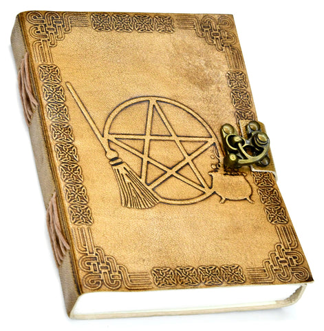Broom and Pentagram Leather Journal With Latch