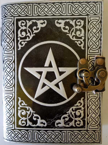 Black and Silver Pentagram Leather Journal With Latch