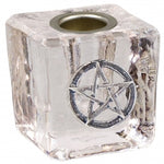 Glass Chime Candle Holder with Pentacle