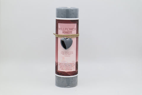 Willpower Candle with Hematite Crystal Pendant