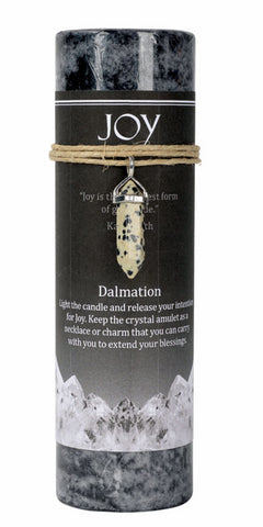 Joy Candle with Dalmatian Jasper Crystal Pendant